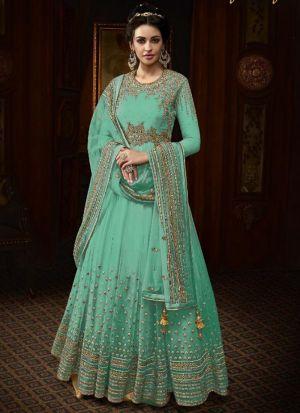 Designer Parrot Heavy Net Floor Length Salwar Kameez