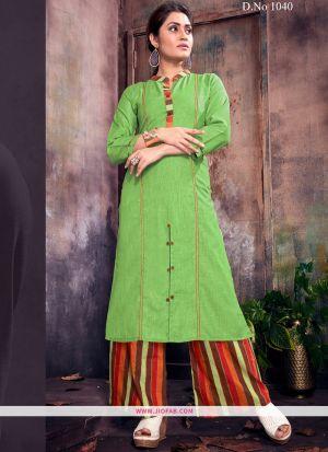 Designer Parrot Ruby Cotton Plain Long Kurti