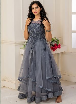 Designer Partywear Grey Soft Net Gown