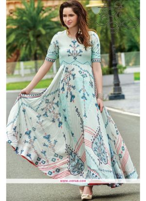 Designer Partywear Light Cyan Maslin Cotton Gown