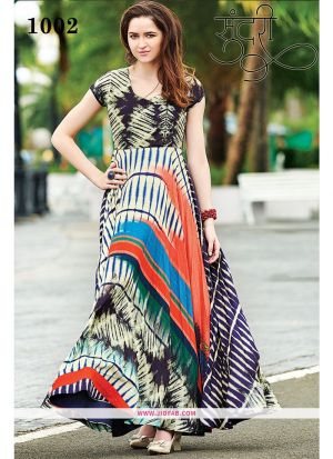 Designer Partywear Multi Color Maslin Cotton Digital Printed Gown