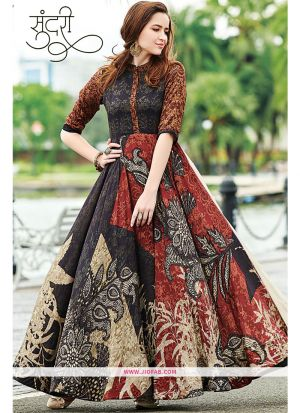 Designer Partywear Multi Color Maslin Cotton Gown