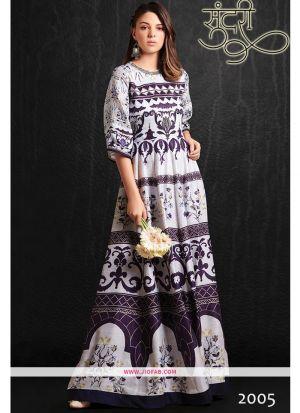 Designer Partywear Off White Maslin Gown