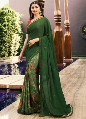 Designer Partywear Printed Dark Green White Rangoli Fancy Saree
