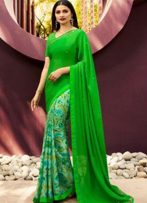 Designer Partywear Printed Lime Green White Rangoli Fancy Saree
