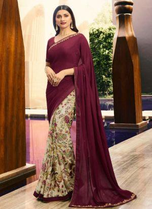Designer Partywear Printed Maroon And Cream White Rangoli Fancy Saree