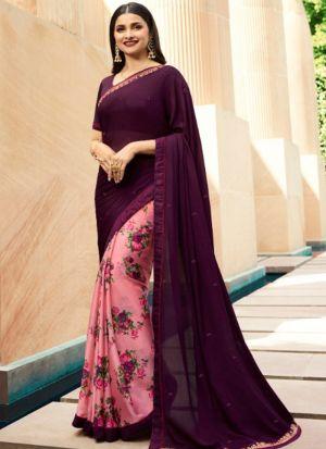 Designer Partywear Printed Purple And Light Pink White Rangoli Fancy Saree