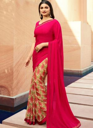 Designer Partywear Printed Rani White Rangoli Fancy Saree