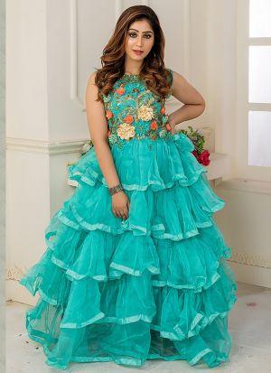 Designer Partywear Seafoam Color Soft Net Gown
