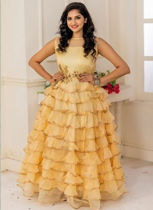 Designer Partywear Yellow Soft Net Gown