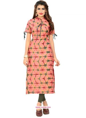 Designer Peach Cotton Kurti For Girls And Women