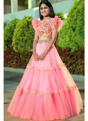 Designer Pink Net Plain Lehenga Choli With Bell Sleeves