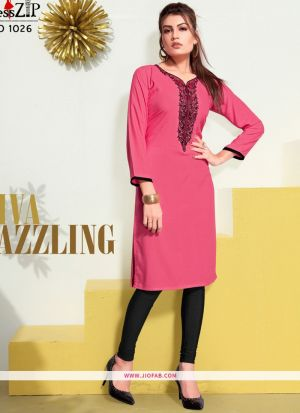 Designer Pink Rayon Embroidered Long Kurti