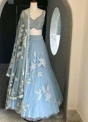 Designer Powder Blue Chain Stitch Festive Wear Lehenga Choli