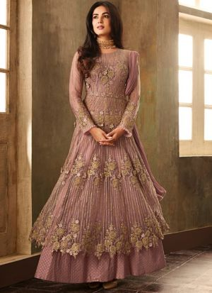 Designer Powder Pink Heavy Net Anarkali Style Long Salwar Suit