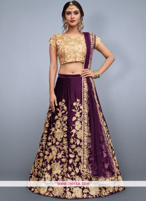 Designer Purple Embroidered Velvet Silk Partywear Lehenga Choli