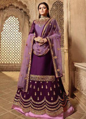 Designer Purple Satin Georgette Lehenga Style Salwar Suit