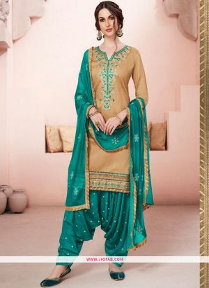Designer Rama Embroidered Glaze Cotton Indian Salwar Suit