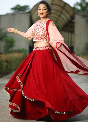 Designer Red Color Velvet Traditional Lehenga Choli