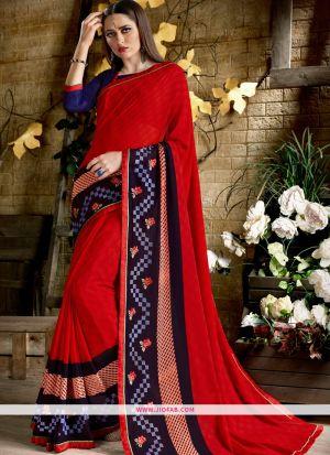 Designer Red Function Wear Georgette Saree