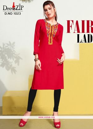 Designer Red Rayon Embroidered Long Kurti