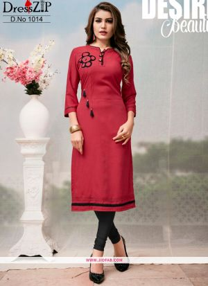Designer Red Rayon Plain Long Kurti