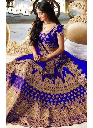 Designer Royal Blue Banglori Silk Embroidered Wedding Lehenga Choli With Mono Net Dupatta