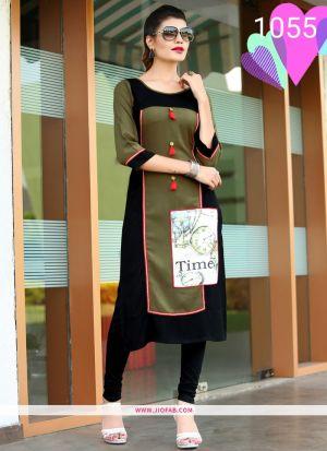 Designer Sage Color Rayon Printed Long Kurti