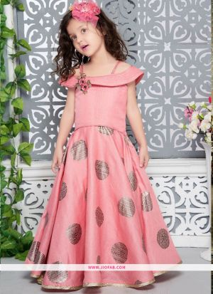 Designer Salmon Pink Thai Silk Indian Gown For Kids Girl