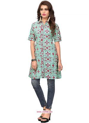 Designer Sky Blue Cotton Kurti For Girls And Women