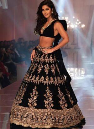 Designer Soft Taffeta Silk Black Color Partywear Lehenga Choli