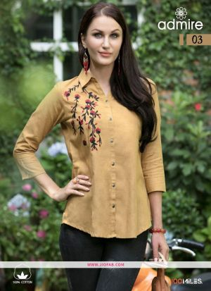 Designer Special Chiku Rayon Embroidered Shirt For Girl
