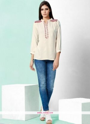 Designer Special Off White Rayon Embroidered Top For Girl