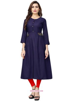 Designer Stylish Blue Embroidered Kurti In Rayon Fabric