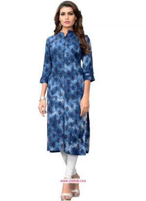 Designer Stylish Blue Printed Kurti In Rayon Fabric