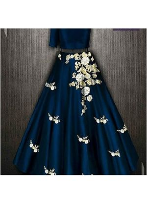 Designer Taffeta Silk Teal Blue Color Partywear Lehenga Choli