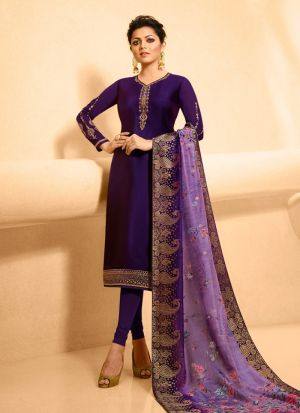 Designer Violet Satin Georgette Churidar Suit For Bridesmaids