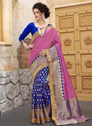 Designer Wedding Blue And Pink Banarasi Silk Saree