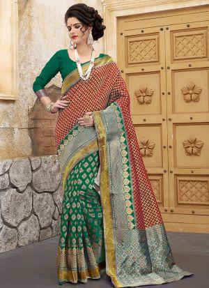 Designer Wedding Green And Red Banarasi Silk Saree