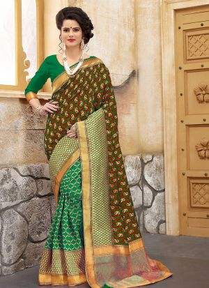 Designer Wedding Green Banarasi Silk Saree