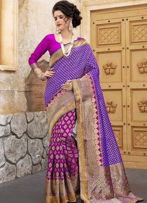 Designer Wedding Pink And Blue Banarasi Silk Saree
