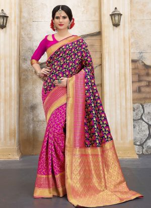 Designer Wedding Pink And Navy Banarasi Silk Saree