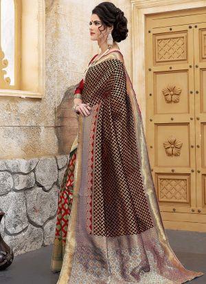 Designer Wedding Red And Black Banarasi Silk Saree