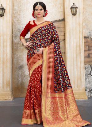 Designer Wedding Red And Navy Banarasi Silk Saree