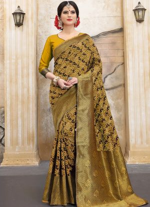 Designer Wedding Yellow Banarasi Silk Saree
