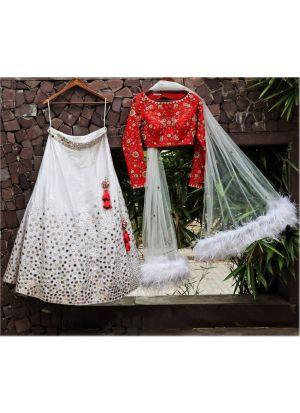 Designer White Banarasi Silk Fancy Thread Work Lehenga Choli With Mono Net Dupatta