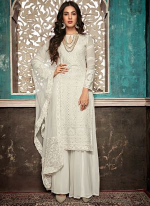 Designer White Georgette Pakistani Style Suit For Ceremony