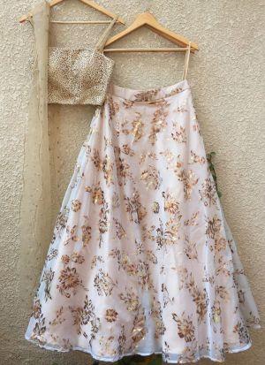 Designer White Organza Silk Foil Printed Lehenga Choli With Mono Net Dupatta