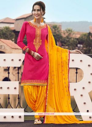 Designer Yellow Embroidered Glaze Cotton Indian Salwar Suit