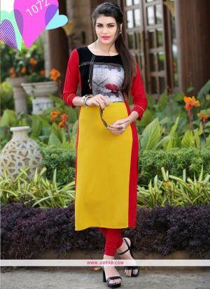 Designer Yellow Rayon Printed Long Kurti